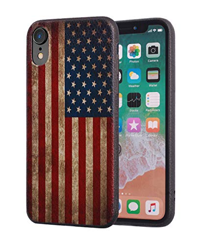 iPhone XR Case, Slim Anti-Scratch Leather Grain Rubber Protective Case for Apple iPhone XR (2018) 6.1 inch - Vintage USA American Flag