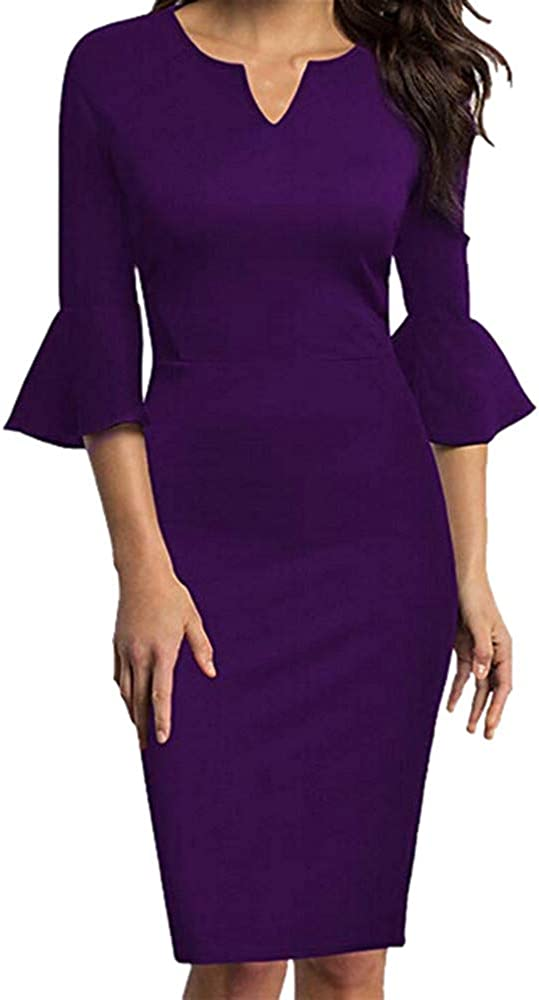 Dresses for Womens, FORUU Ladies Sexy V-Neck Flounce Bell Sleeve Office Work Casual Pencil
