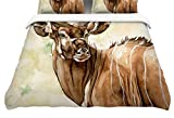 Kess InHouse Wildlife Africa 1'' Brown Animals Twin Cotton Duvet Cover, 68 by 88-Inch