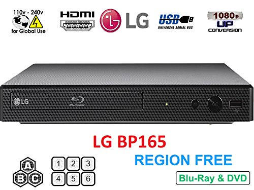 LG BP165 Region Free Blu-ray Player, Multi region 110-240 volts, 6FT HDMI cable & Dynastar Plug adapter bundle Package