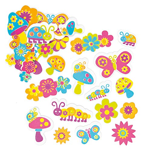 Baker Ross Groovy Garden Foam Stickers (Pack of 100) Self-Adhesive Shapes, Children's Craft Embellishments for Decorating, Scrapbooking & Card Making