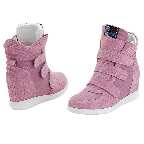 Jamron Women Classic Middle Hidden Wedge Heel Suede Upper Hook&Loop Fashion Sneakers pink1 iqVA7ughD