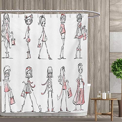 smallfly Girls Patterned Shower Curtain Cartoon Girls with High Heel Shoes Glamour Fashion Urban Life Catwalk Style Picture Shower Curtain Collection by 72
