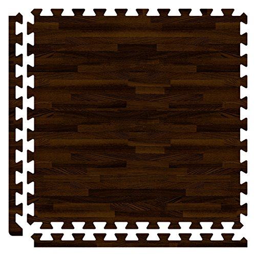 SoftWoods 2' x 2' Walnut 10' x 12' Set (30 Tiles Total) Interlocking Tiles 1/2
