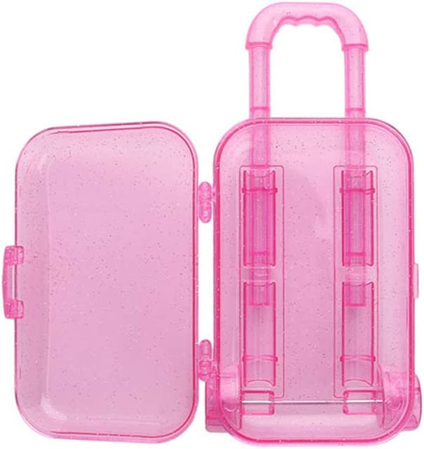 GFCGFGDRG Mini Trunk Plastic 18-Inch Doll Luggage Case Travel Suitcase Trolley Doll Accessories Kids Toy