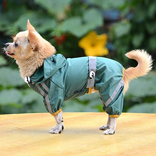 [Pet Dog Puppy Glisten Bar Hoody Waterproof Raincoat Jacket Clothes (S, Green)] (Halloween Costume Ball Nyc)