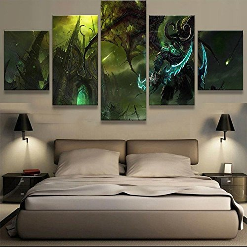 [Medium] Premium Quality Canvas Printed Wall Art Poster 5 Pieces / 5 Pannel Wall Decor World Of Warcraft Painting, Home Decor Pictures - With Wooden Frame