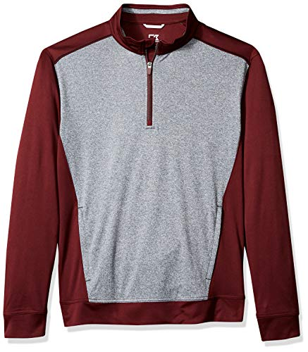 Cutter & Buck Men's Water Repellent 50+ UPF Replay 1/2 Zip Pullover Bordeaux XLarge ()