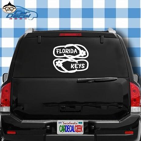 Florida keys flip flops vinyl decal sticker bumper cling for car truck window laptop macbook wall
