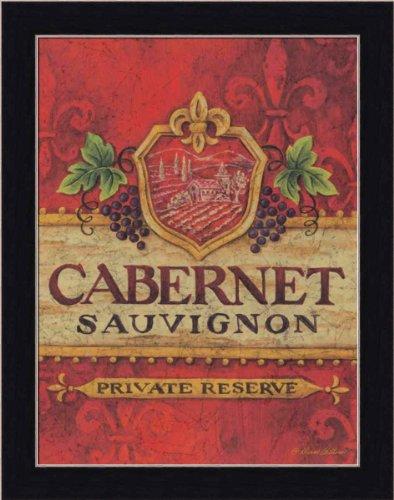 Cabernet Sauvignon Label by Diane Arthurs Fleur-di-lis Sign 10.5x13.5 in Art Print Framed (French Cabernet Sauvignon Labels)