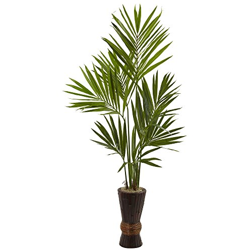 Nearly Natural Kentia Tree with Bamboo Planter, 6' by Nearly Natural