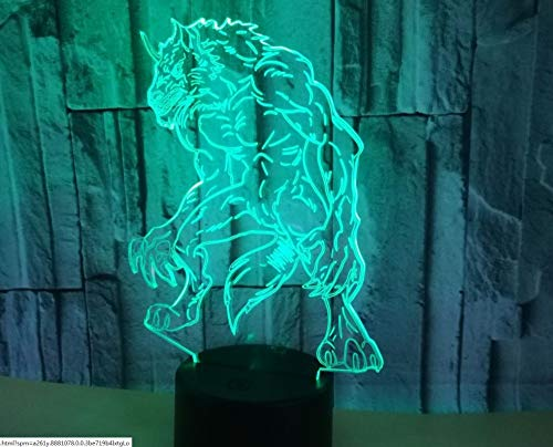 RTYHI Night Lights for Kids Teddy Bear 7 Colors Change with Touch 3D Nightlight Help Kids Fell Safe at Night Or As A Gift Idea for Women Or Girls Werewolves -