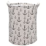 Sea Team Foldable Large Cylindric New Hook Pattern Canvas Fabric Storage Bin Storage Basket Organizer, Laundry Hamper for Blouse T-shirt Underwear etc., White