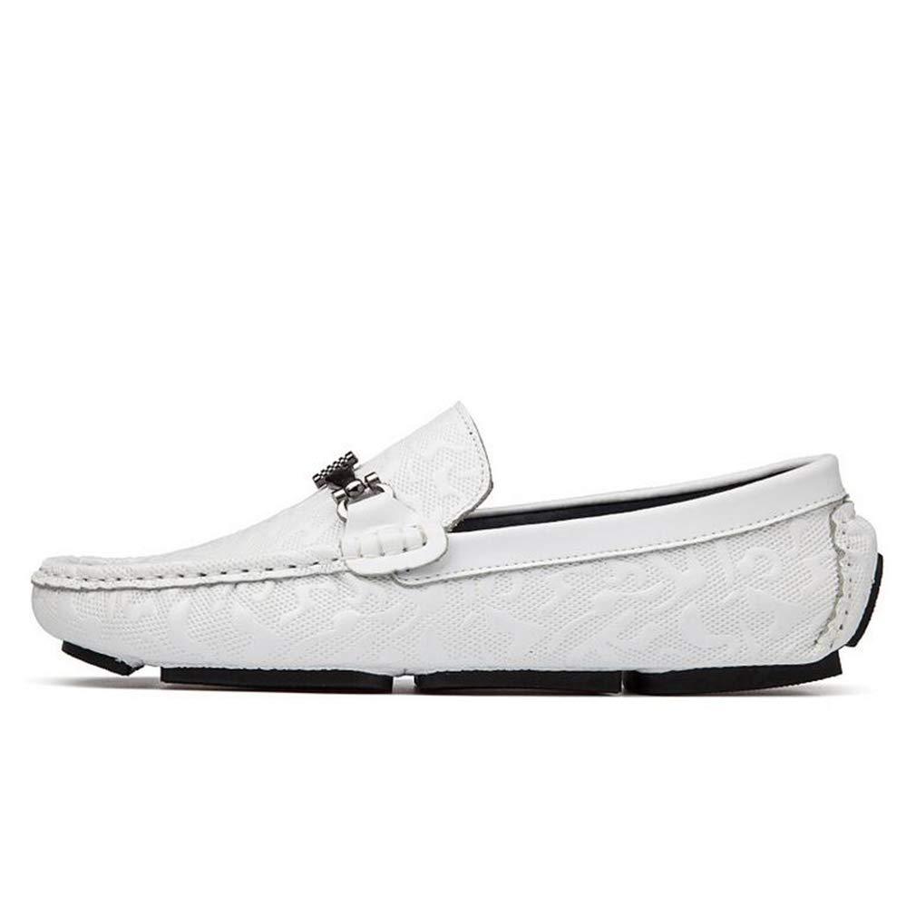 Hy Herrenschuhe Spring Fallleuchte Loafers & Slip-Ons Soft Sole Comfort Driving schuhe Trekking,Weiß,44