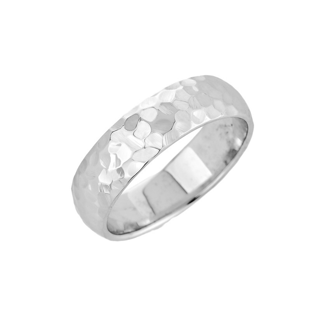 Solid 14k White Gold Modern Comfort-Fit Hammered Wedding Band, Size 5.75