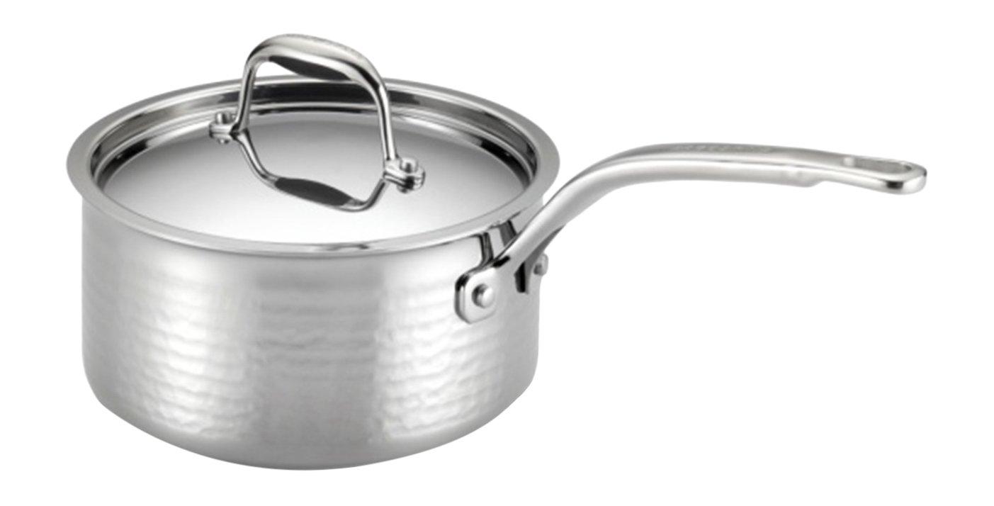 Lagostina Q5532364 Martellata Tri-ply Hammered Stainless Steel Dishwasher Safe Oven Safe Saucepan Cookware, 2-Quart, Silver