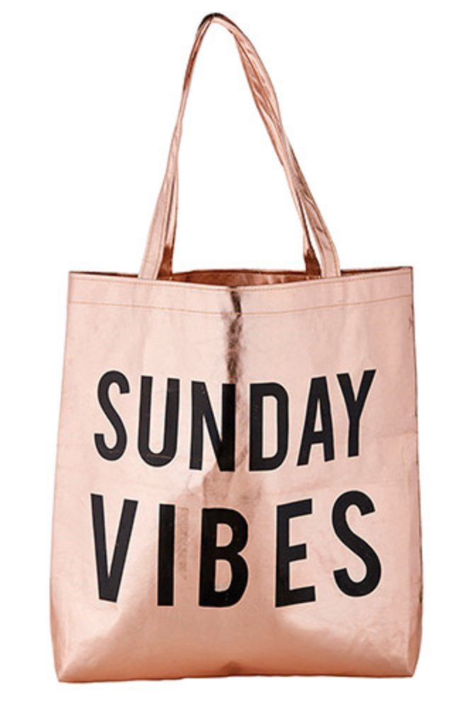 Pack of 2 Sunday Vibes Rose Gold Tote Bags. 16'' X 14.5''.