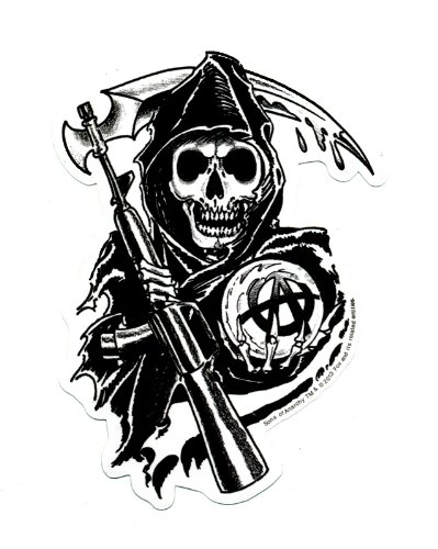 SONS OF ANARCHY, Reaper, Officially Licensed, 4.5' x 3', Die-Cut STICKER ADESIVO DECAL 4.5 x 3 Officially Licensed & Trademarked Products