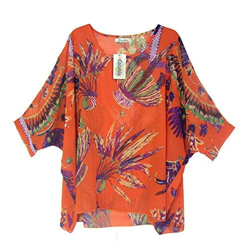 Cocobla Women Boat Neck Loose Dolman Sleeve Tops Bohemian Chiffon Blouse T Shirt (Xl, Orange)