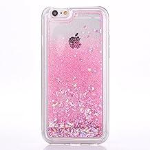 iPhone 6s plus case, Myckuu Soft TPU Liquid, Cool Quicksand Moving Stars Bling Glitter Floating Dynamic Flowing Case Liquid Cover for Iphone 6 plus (round+pink)