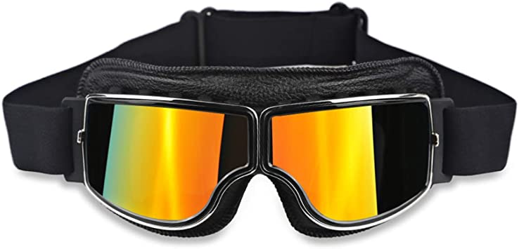 Motorcycle Goggles Fog-proof Helmet Glasses Protective Eyewear w// Adjustable