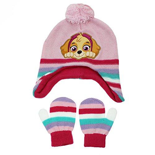 Nickelodeon Paw Patrol Skye Peruvian Winter Hat and Mittens Toddler 2T-4T Pink