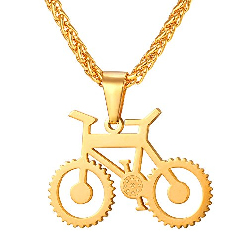 U7 Men Cool Bicycle Jewelry 18K Gold Plated Wheat Chain Bike Pendant Necklaces