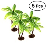 mini palm tree - LUOEM 5Pcs Mini Landscape Decor Plastic Coconut Palm Tree Miniature Plant Bonsai Decoration
