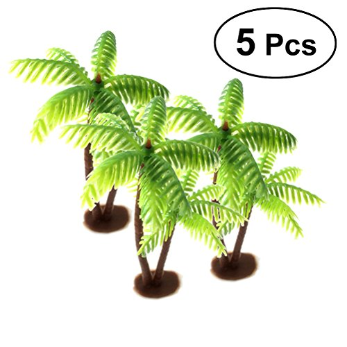(OULII 5Pcs Plastic Coconut Palm Tree Miniature Plant Pots Bonsai Craft Mini Scenery Landscape DIY Doll House Resin)