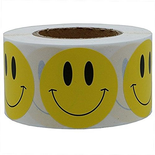 AckfulNatural Kraft Smile Stickers Appreciation Labels 1 Roll