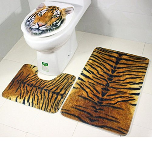 Collection Oversized Tote (Vibola Tiger Leopard Pedestal Rug + Lid Toilet Cover + Bath Mat for Bathroom (C))