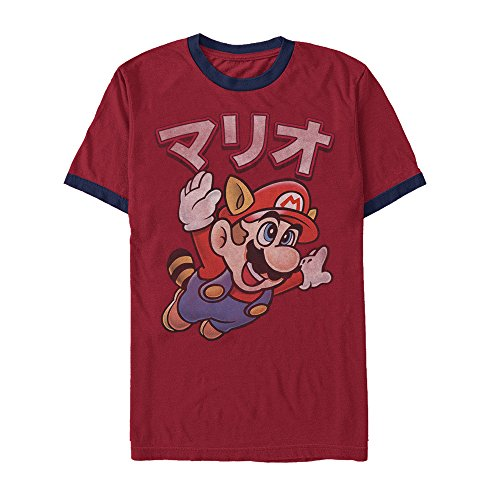 (Nintendo Super Mario Bros Japanese Mens Graphic Ringer T Shirt)