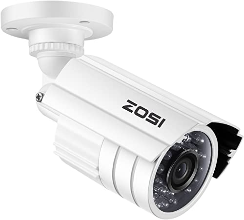 ZOSI 720P HD 1280TVL Hybrid 4-in-1 TVI CVI AHD 960H CVBS CCTV Security Camera 24PCS IR-LEDs 65ft Day Night Vision Weatherproof Aluminum Metal Housing Bullet Surveillance Camera White