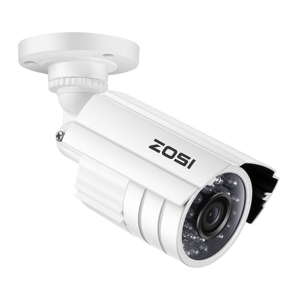 ZOSI 1.0MP HD 1280TVL Indoor/Outdoor Security Camera 720p(Hybrid 4-in-1 HD-CVI/TVI/AHD/960H Analog CVBS),24PCS LEDs,65ft IR Night Vision, Weatherproof Surveillance CCTV Bullet Camera