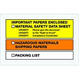 Tape Logic TLPL499 ''Important Paper Enclosed'' MSDS Envelopes, 6 1/2'' x 10'', Yellow/Orange (Pack of 1000)