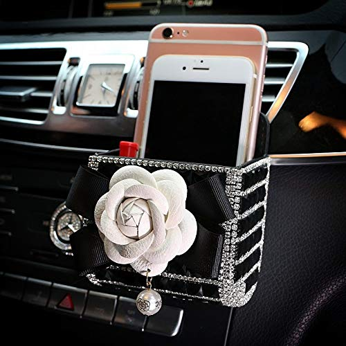 (TISHAA Bling Bling Rose Flower Car Air Vent Mobile Cellphone Pocket Bag Pouch Box Storage Organizer Carrying Case (White Rose) )
