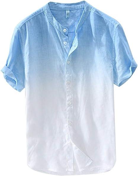 SMILEQ Camisa de Verano para Hombre, Fresca y Delgada, Transpirable, Blusa de Cuello, Manga Corta, Camisa de Lino Degradado teñida Que cuelga: Amazon.es: Deportes y aire libre