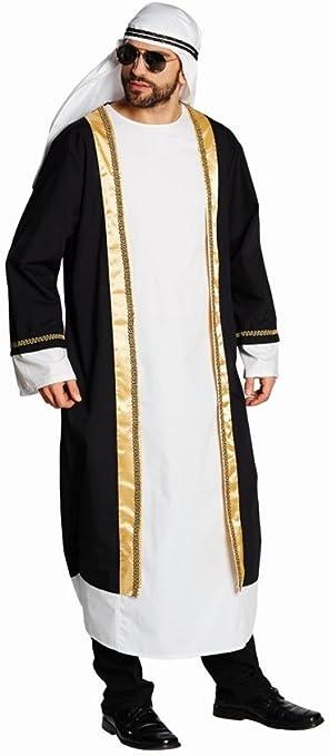 Disfraz túnica de colour negro-blanco árabes turbante jeque Sultan ...