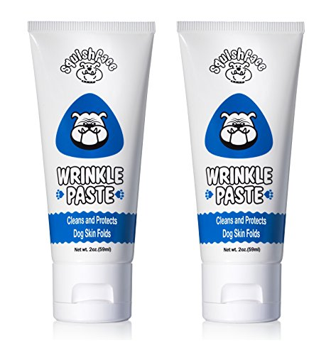 (Squishface Wrinkle Paste - 2 Tubes - Cleans Wrinkles, Tear Stains Tail Pockets - 2 oz, Anti-Itch, Great Bulldogs, Pugs)