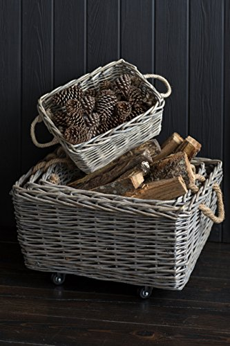 Vagabond Vintage, Set of 4 Rectangular Willow Baskets - Largest on Casters (Baskets On Casters Wicker)