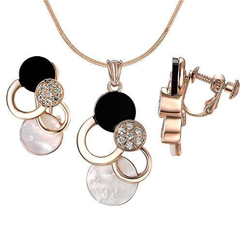 Yoursfs Mouse Jewelry Set Black and White Mother of Pearl Shell Round Geometric Screw Back Clip On Earrings&Necklace