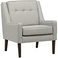 Stone & Beam Modern Sweeping Arm Accent Chair, 28W, Oxford Stripe