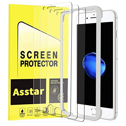 iPhone 8 Plus Screen Protector Compatible with iPhone 7 Plus,  6 Plus,  6S Plus,  Tempered Glass Easy Install Frame Durable 3D HD Clear Case Friendly Screen Protector [3 Pack]