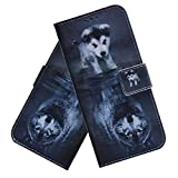 COTDINFORCA Samsung Galaxy A10E Wallet Case Premium PU Leather Flip Case with Kickstand Multi-Function Slot Shockproof Protective Phone Case for Samsung Galaxy A10E / A20E PU Wolf Dog TX