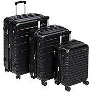 Amazon Basics Hardside Luggage Spinner Set, 20″+24″+28″, Black