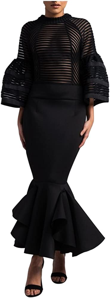 VERWIN Bell Sleeve Fishtail Women's Party Cocktail Evening Bodycon Dress Mermaid Maxi Dress