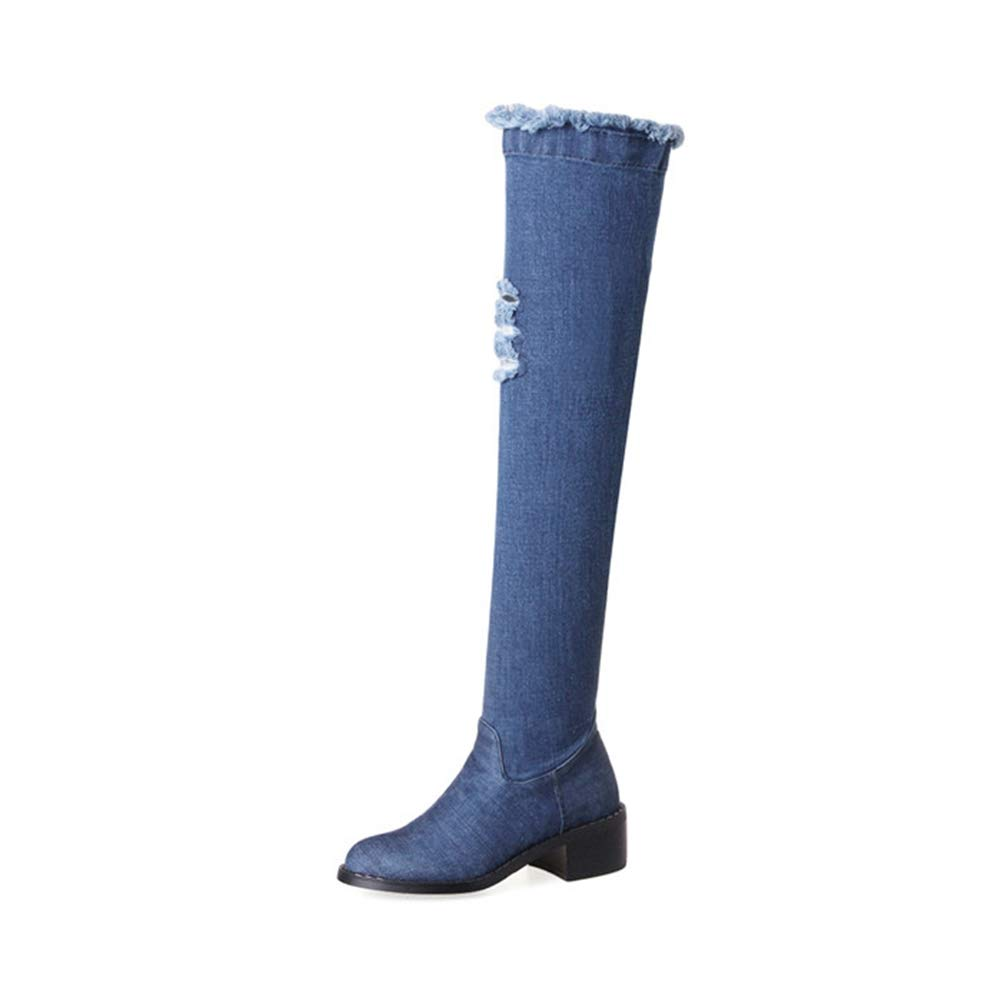 Front Hole Long Denim Boots Overknee Hole Heel Ladies bluee Autumn Tight Over The Knee High Riding Boots Women shoes
