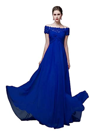 6828732703f Amazon.com  vimans Women s Long Off Shoulder Prom Dresses 2019 Lace ...