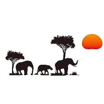 Gut Abnehmbar DIY Afrika Elefant Sonnenuntergang Aufkleber Wand Sticker Haus Wohnzimmer  Dekor