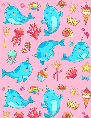 Shells Wand (Narwhal Notebook: Super Kawaii Pink Narwhals Notebook Journal with Cupcake Rainbow Heart Crown Shell Magic Wand Ice Cream Shooting Stars Jellyfish ... for Girls Boys Kids (120 Pages 8.5 x 11))